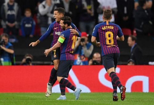 Barcelona superstars - Philippe Coutinho, Lionel Messi, and Arthur Melo
