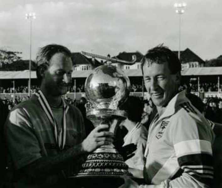 Terry Walsh with the World Cup [on the right]