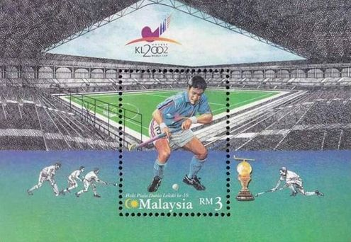 MALAYSIA MINIATURE SHEET ON 10TH WORLD CUP HOCKEY 2002.