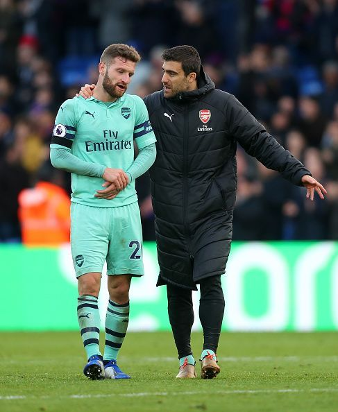 Mustafi and Sokratis engaged in a somewhat lengthy discussion after the draw at Crystal Palace this season