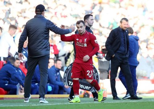 Xherdan Shaqiri was included in the starting XI, having been recently been dropped for Liverpool's loss to Red Star Belgrade due to non-sporting reasons.
