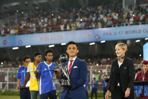 Sunil Chhetri carried the winners' trophy of the FIFA U-17 World Cup 2017 India to the podium for final presentation