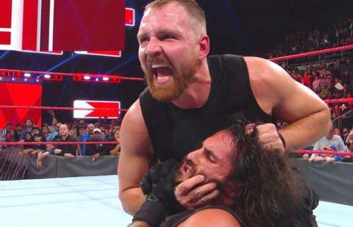 Dean Ambrose beating Seth Rollins