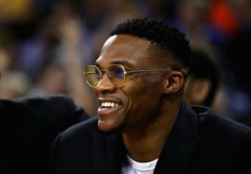 2017 NBA MVP, Russell Westbrook sits courtside and watches OKC in action