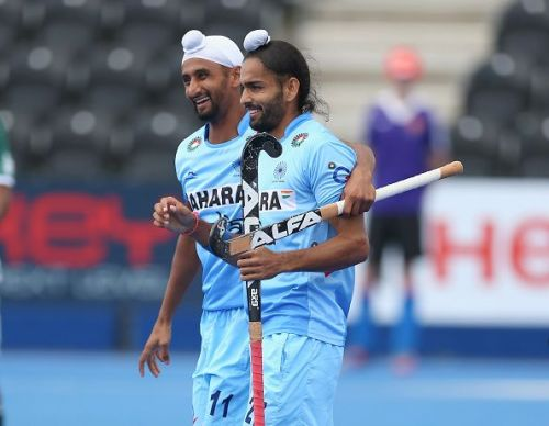 Mandeep Singh and Akashdeep Singh scored India's first two goals in the 2018 Men's Hockey World Cup.