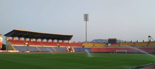 The Sarusajai Stadium getting ready for the game tomorrow.