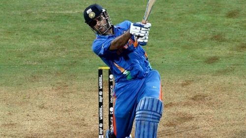 MS Dhoni in his stance after hitting the World cup winning six