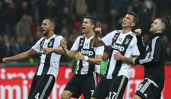 AC Milan v Juventus - Serie A. Juventus players celebrate