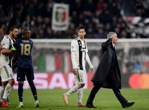 Jose Mourinho mocks the Juventus fans after Manchester United secured a win in Turin