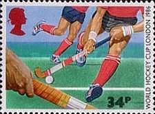 A STAMP ISSUED BY ROYAL MAIL ON 6TH WORLD CUP HOCKEY .