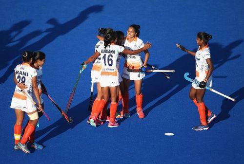 The Golden Girls celebrate Neha's goal against Italy