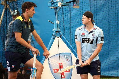 Steve Smith was involved with the Australian pacers at the SCG.