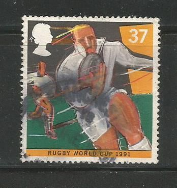 Stamp issued by Great Britain on 2nd Rugby World Cup in 1991