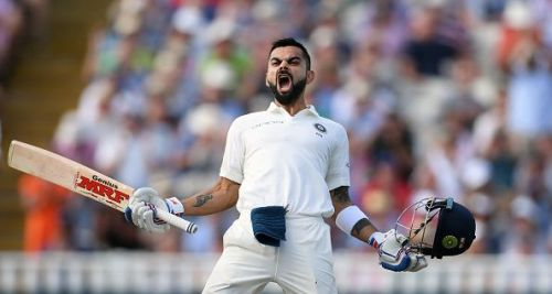 A pumped up Virat Kohli celebrates after conquering the English demon