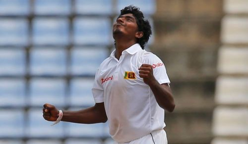 Sandakan, the Sri Lankan spinner after picking up a wicket