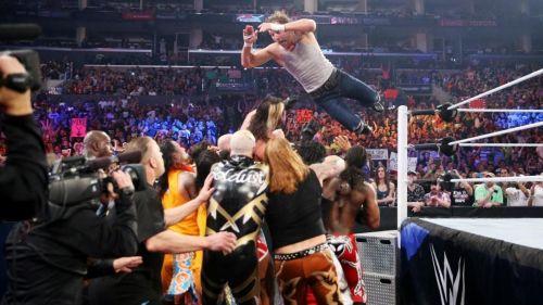 Ambrose jumping on the Lumberjacks.