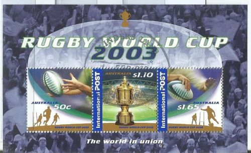 Miniature Sheet with three stamps issued by Australia on 2003 Rugby World Cup hosted by Australia