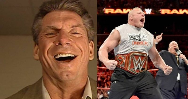 WWE boss Vince McMahon (left) will surely be looking at these dangerous Superstars who could face Brock Lesnar (center) at WrestleMania 35