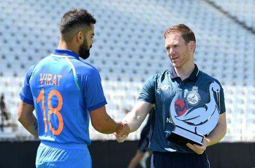 Virat Kohli and Eoin Morgan during the ODI series earlier this year