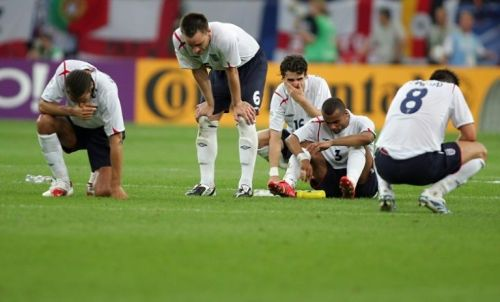 Devastated England players after losing to Portugal in a shootout at the 2006 World Cup