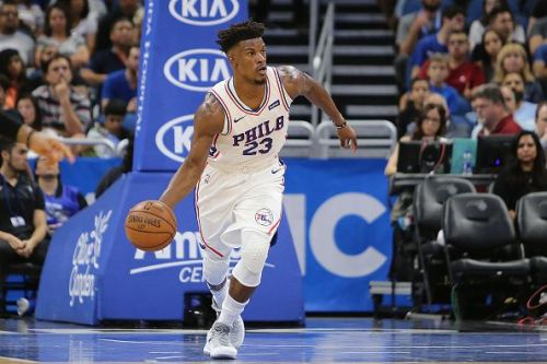 Jimmy Butler in his first competitive game for the Philadelphia 76ers
