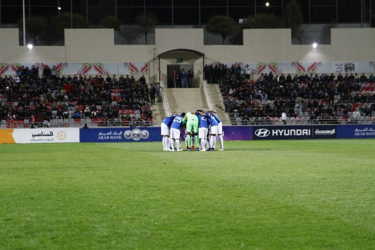 The Indian team in a huddle before the match against Jordan