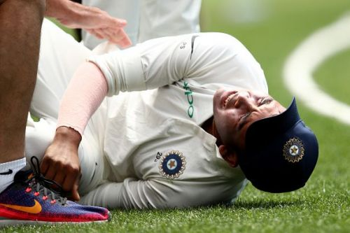 Prithvi Shaw injured his ankle while attempting a catch along the boundary