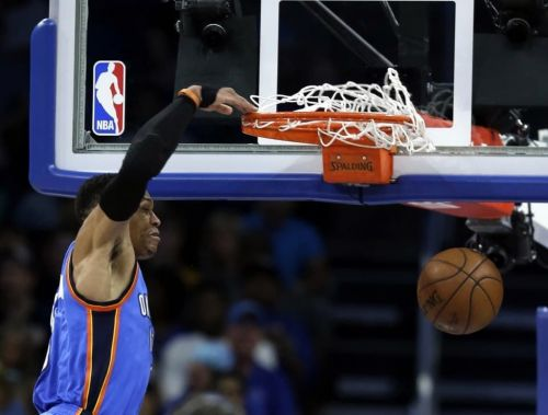 Russell Westbrook making 2 of his 57 points against the Orlando Magic