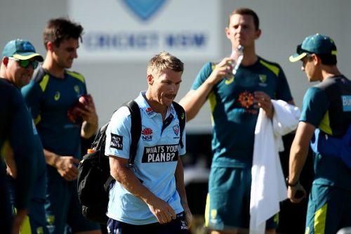 Warner at the Australia net session