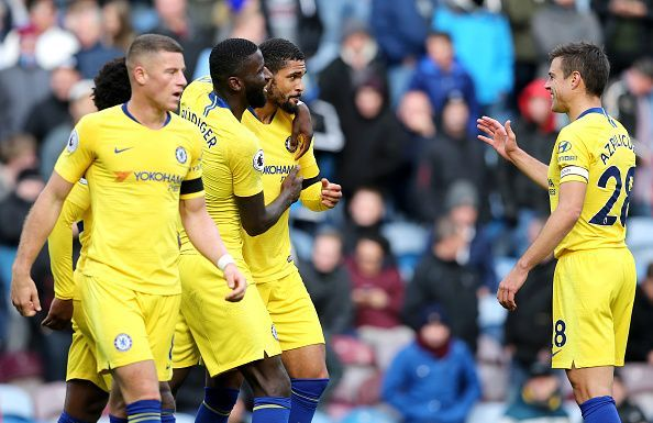 Chelsea players celebrate during their 4-0 rout over Burnley. (Picture source: Getty)
