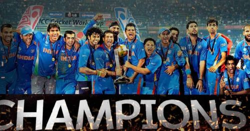 The victorious Indian team in 2011 - World Champions