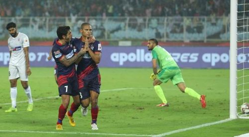Gerson Vieira (right) celebrates after scoring the goal against FC Pune City