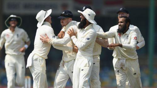England celebrate with Jack Leach