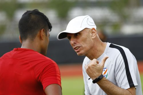 Head coach Stephen Constantine (right) has done well to persist with his core group of players, especially when the results have not gone theirway. (AIFF Media)