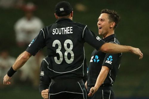 Tim Southee congratulates Trent Boult after his hat-trick
