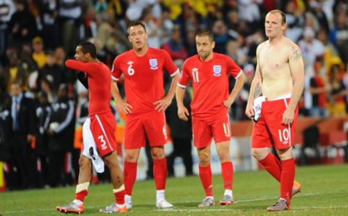 England players are crestfallen after losing to Germany in the 2010 World Cup