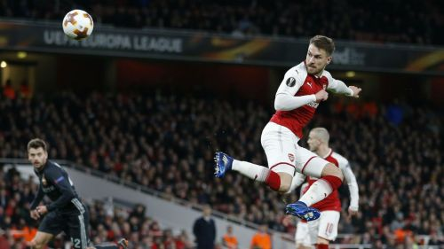 Ramsey scoring against CSKA in the Europa league