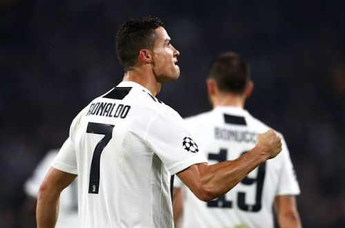 Ronaldo celebrates his excellent finish against former side United during their Group H clash last month
