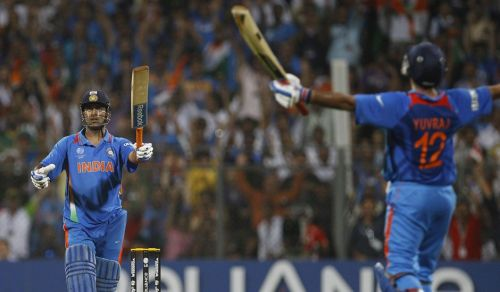 Yuvraj Singh erupts into celebration as MS Dhoni hits the winning runs in the 2011 World Cup