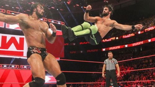 Two of the top Superstars on Raw - Drew McIntyre (left) and Seth Rollins (right)