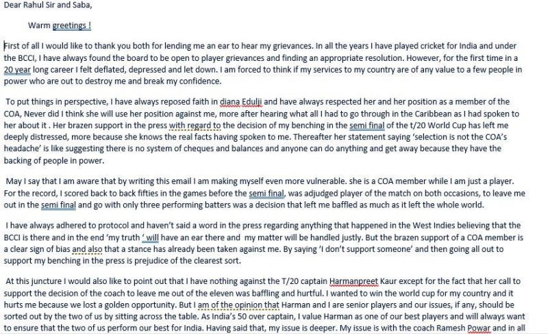 Mithali wrote a letter to BCCI