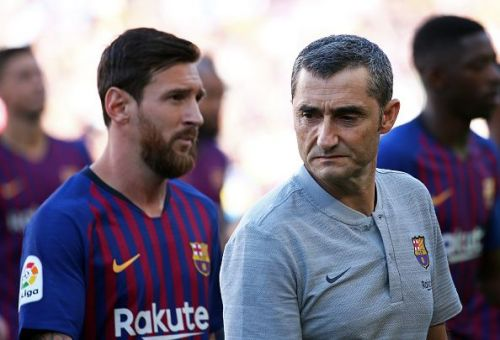 Barcelona's captain Lionel Messi(l), and coach Ernesto Valverde(r) will not want to lose the player