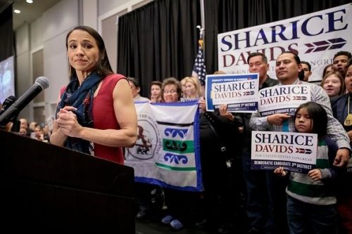 Kansas Congressional Candidate Sharice Davids' Holds Election Night Party In Olathe, Kansas