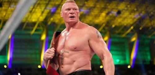 Brock Lesnar winning the WWE Universal Championship at WWE Crown Jewel PPV