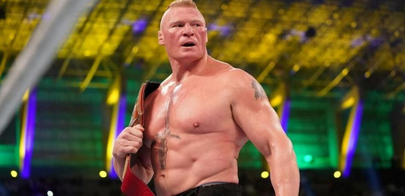 Brock Lesnar winning the WWE Universal Championship at WWE Crown Jewel PPV