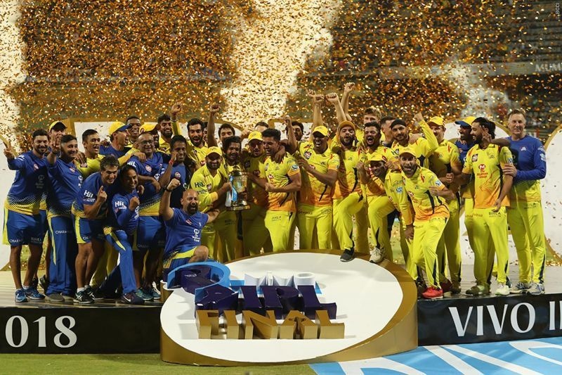 Chennai Super Kings Team crowning trophy for 3rd time