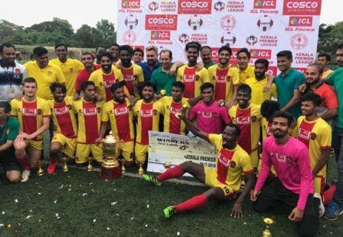 Gokulam Kerala FC with the Kerala Premier League trophy