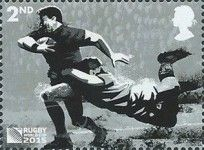 Stamp issued by Great Britain on 2015 Rugby World Cup