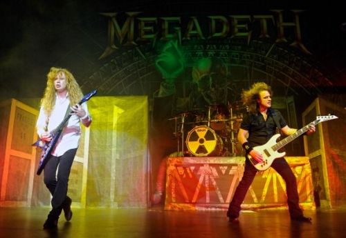 Dave Ellefson (right) on-stage with Megadeth on the Jagermeister Fall Music Tour