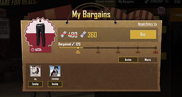 PUBG Bargain System